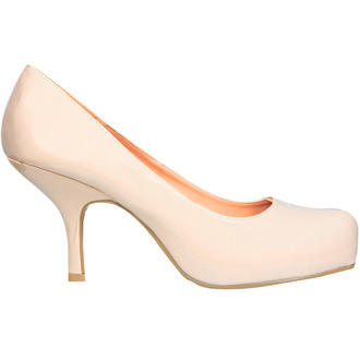 View Item SIZE 4 ONLY Nude Patent Kitten Heel Shoe